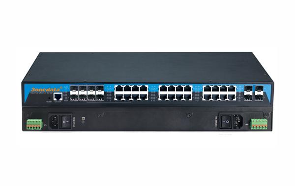 Switch công nghiệp Layer 3 16 cổng Gigabit Ethernet + 4 cổng quang 10Gb SFP + 8 cổng quang ICS5028G-8GC-4TS