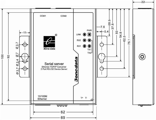 Bộ chuyển đổi 2 cổng RS-232 sang Ethernet NP302T-2D(RS-232)