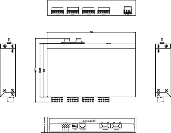 Bộ Chuyển Đổi quang điện 4 cổng RS-485 sang 2 Cổng Quang IMF204-2F-4DI