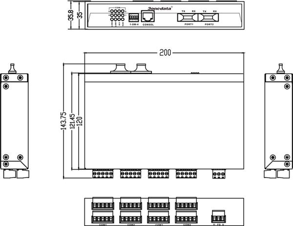 Bộ chuyển đổi quang điện 8 cổng RS-485 sang 2 cổng quang IMF208-2F-8DI