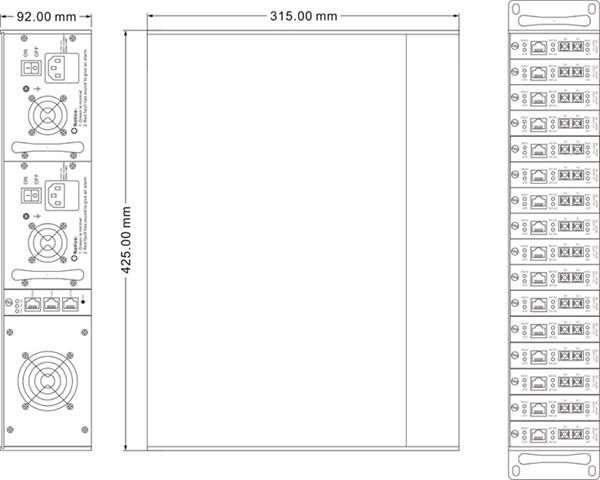 Khung giá 16 khe cắm bộ chuyển đổi quang điện RACK2000C