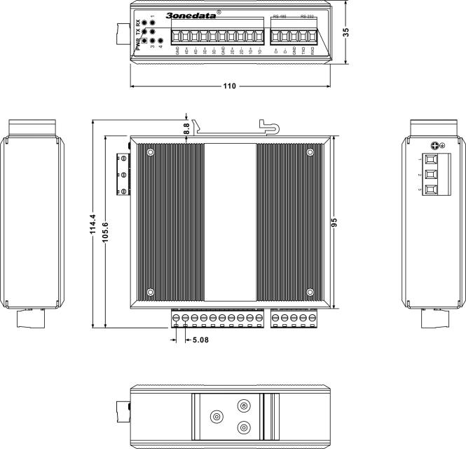 Bộ chuyển đổi cách lý 1 cổng RS-232/485 sang 4 cổng RS-485 HUB SW4485I
