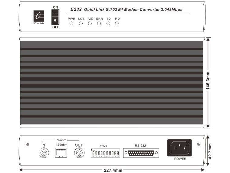 Bộ chuyển đổi RS-232 sang E1 E232