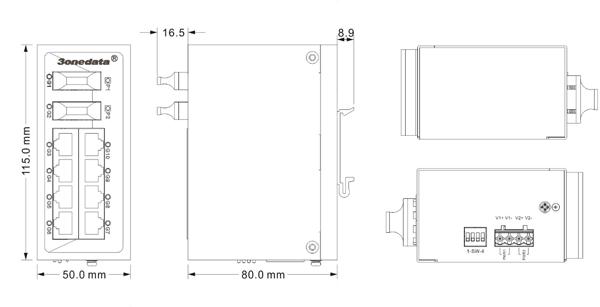 Switch công nghiệp 8 cổng Gigabit Ethernet + 2 cổng Gigabit quang ES2010G-2GF