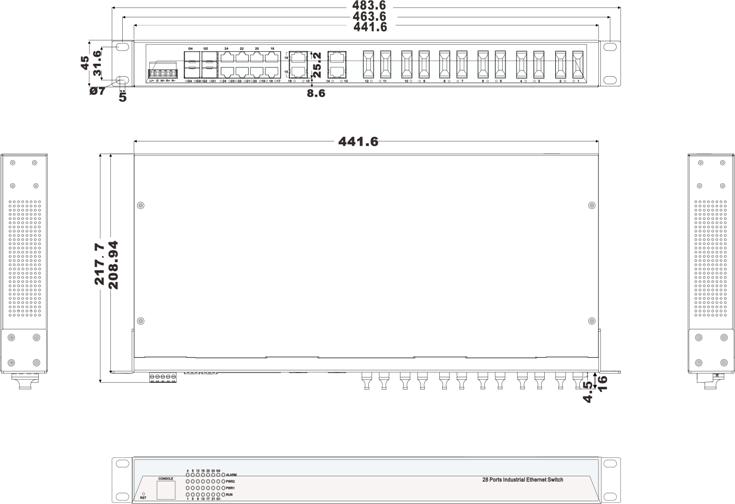 IES1028-4GS-12F 12 cổng Ethernet + 12 cổng quang + 4 cổng quang SFP