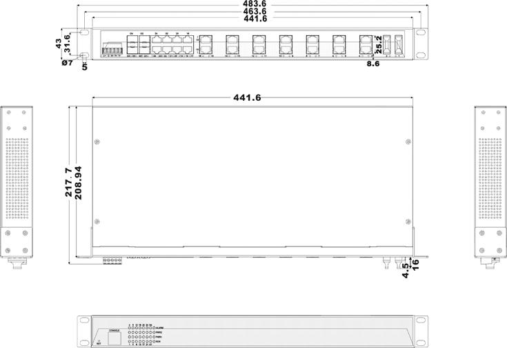 SFP IES1028-4GS-2F 22 cổng Ethernet + 2 cổng quang + 4 cổng quang