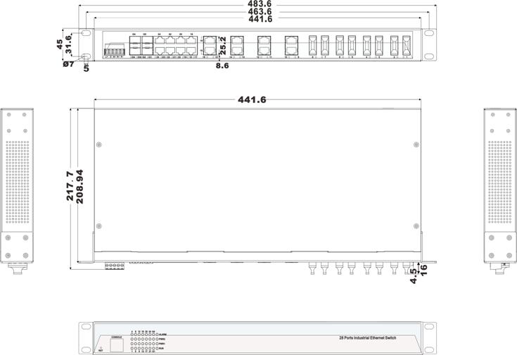 IES1028-4GS-8F 16 cổng Ethernet + 8 cổng quang + 4 cổng quang SFP