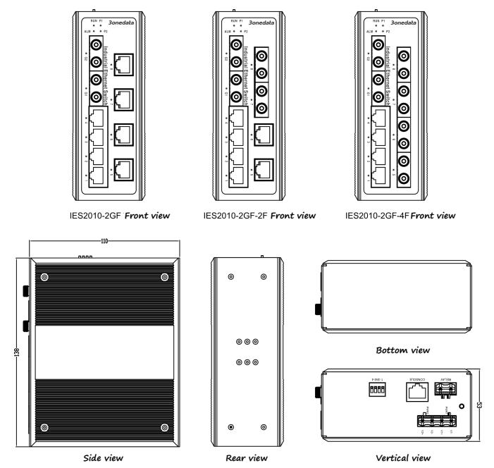 Switch công nghiệp 6 cổng Ethernet + 2 cổng Gigabit quang + 2 cổng quang IES2010-2GF-2F