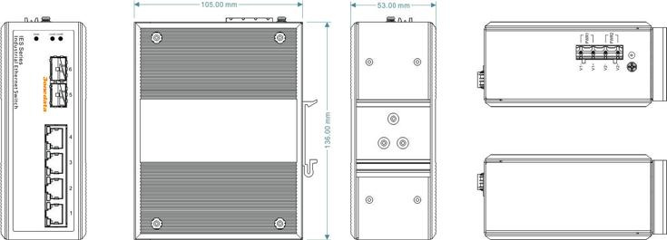 Switch công nghiệp 4 cổng Ethernet + 2 cổng quang SFP IES206-2GS