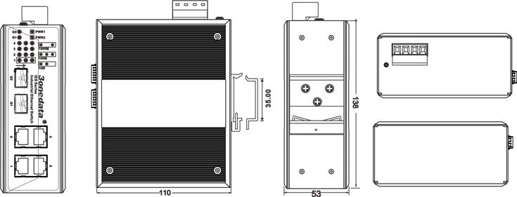 Switch công nghiệp 4 cổng Gigabit Ethernet + 2 cổng quang SFP IES206G-2GS