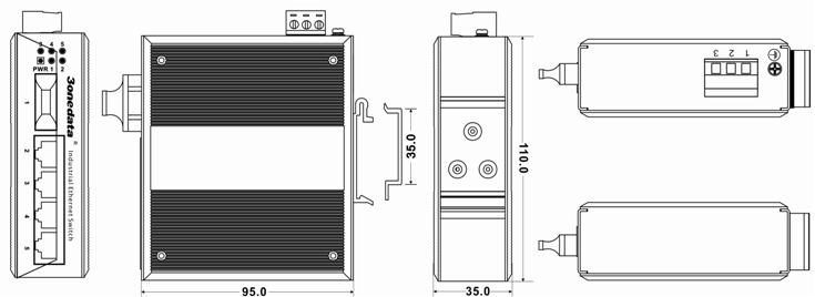 Switch công nghiệp 4 cổng Ethernet + 1 cổng quang IES215-1F