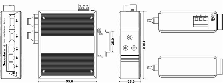 Switch công nghiệp 3 cổng Ethernet + 2 cổng quang IES215-2F