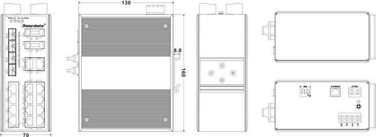 Switch công nghiệp 14 cổng Ethernet + 2 cổng quang + 4 cổng quang SFP IES3020-4GS-2F