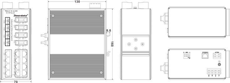 Switch công nghiệp 12 cổng Ethernet+4 cổng quang+4 cổng quang SFP IES3020-4GS-4F