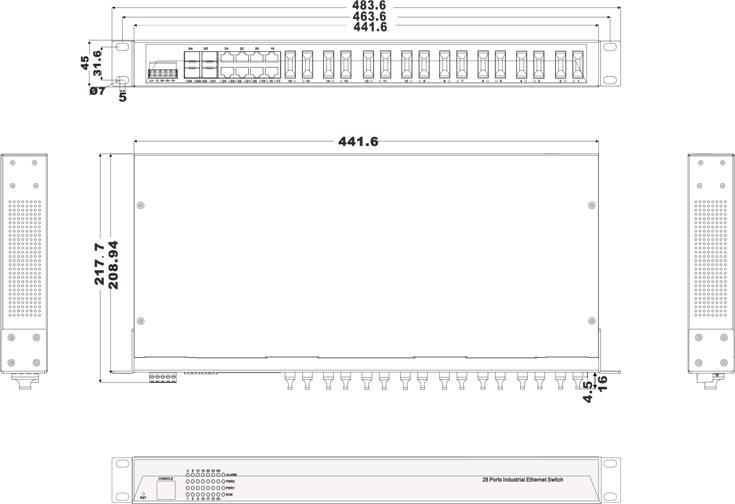 IES5028-4GS-16F 8 cổng Ethernet + 16 cổng quang + 4 cổng quang SFP