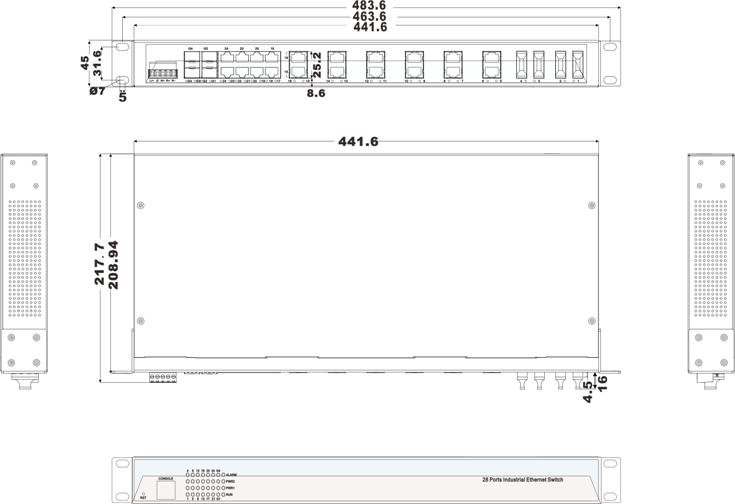 IES5028-4GS-4F 20 cổng Ethernet + 4 cổng quang + 4 cổng quang SFP