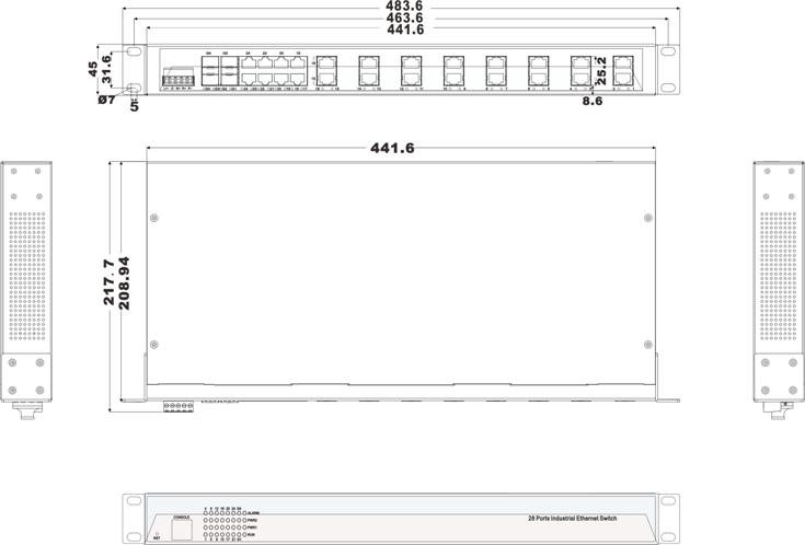 IES5028-4GS 24 cổng quang + 4 cổng quang SFP