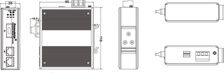 Bộ Chuyển Đổi Quang Điện Công Nghiệp 1 cổng Quang + 2 Cổng Gigabit Ethernet IMC102GT-1GF
