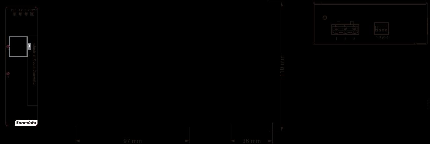 Bộ chuyển đổi quang điện công nghiệp 1 cổng PoE Ethernet + 1 cổng quang SFP IPMC101-1S-POE