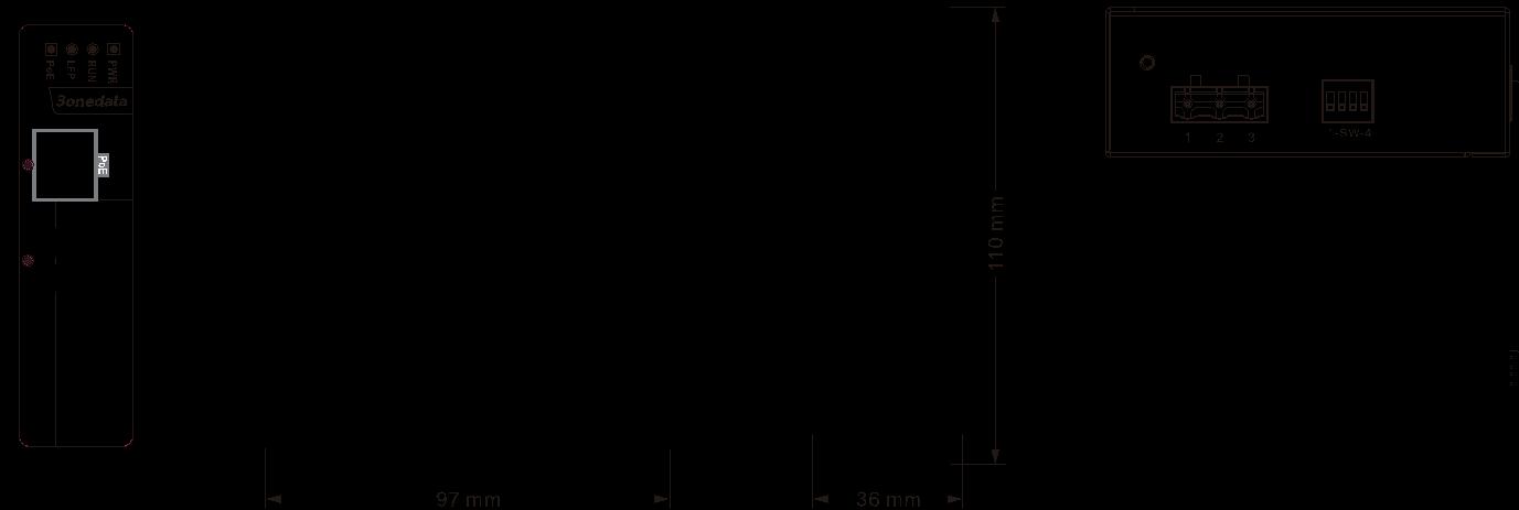 Bộ chuyển đổi quang điện công nghiệp 1 cổng Gigiabit PoE Ethernet + 1 cổng quang SFP IPMC101GT-GS-POE