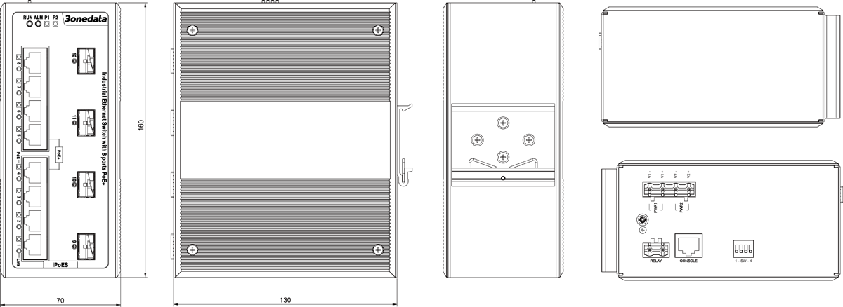 Switch công nghiệp quản lý 4 cổng Ethernet + 4 cổng PoE Ethernet + 2 cổng Combo Gigabit SFP IPS7110-2GC-4T-4POE