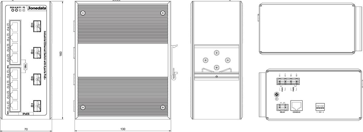 Switch công nghiệp quản lý 8 cổng PoE Gigabit Ethernet + 4 cổng Combo Gigabit SFP IPS7112G-4GS-8POE