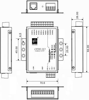 Bộ chuyển đổi 2 cổng CAN bus sang Ethernet CP202-2CI