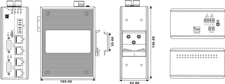 Switch công nghiệp 4 cổng Ethernet + 1 cổng quang + 2 cổng RS232 IES615-1F-2D(RS-232)