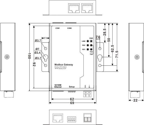 Bộ chuyển đổi 2 cổng RS485-422 sang Ethernet Modbus Gateway GW1102-2D(RS-485)
