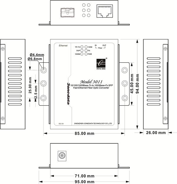 Bộ chuyển đổi quang điện 1 cổng Gigabit Ethernet sang quang SFP Model3011