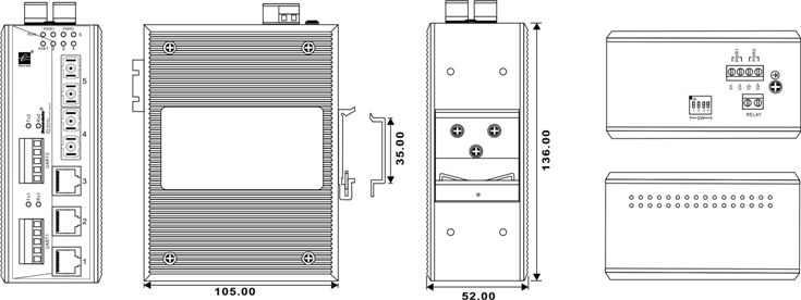 Switch công nghiệp 3 cổng Ethernet + 2 cổng quang + 2 cổng RS422/485 IES615-2F-2D(RS-485)