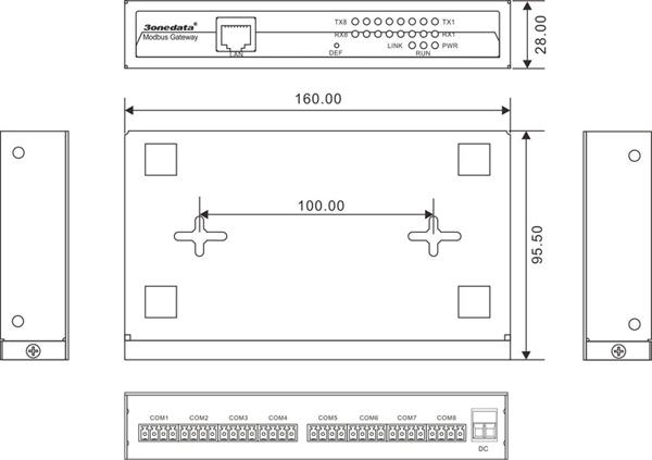 Bộ chuyển đổi 8 cổng RS-485-422 sang Ethernet Modbus Gateway GW1108-8DI(RS-485)