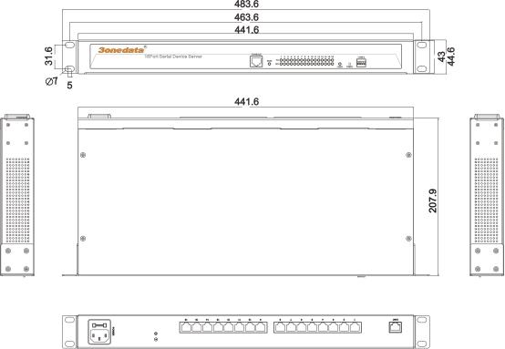 Bộ chuyển đổi 16 cổng RS232/485/422 sang Ethernet NP3016T-16D(RS-232/485/422)