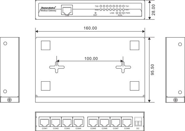 Bộ chuyển đổi 8 cổng RS-232 sang Ethernet Modbus Gateway GW1108-8D(RS-232)