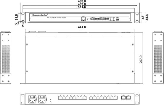Bộ chuyển đổi 16 cổng RS232/485/422 sang Ethernet NP3116T-16D(RS-232/485/422)