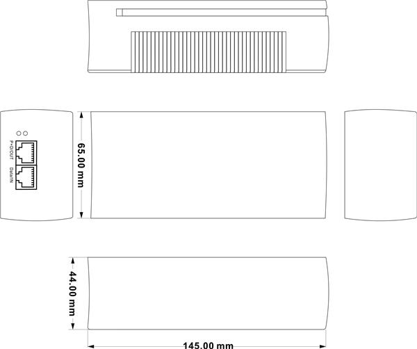 Injector 1 cổng PoE Ethernet, 1 cổng Ethernet PSE101-15W