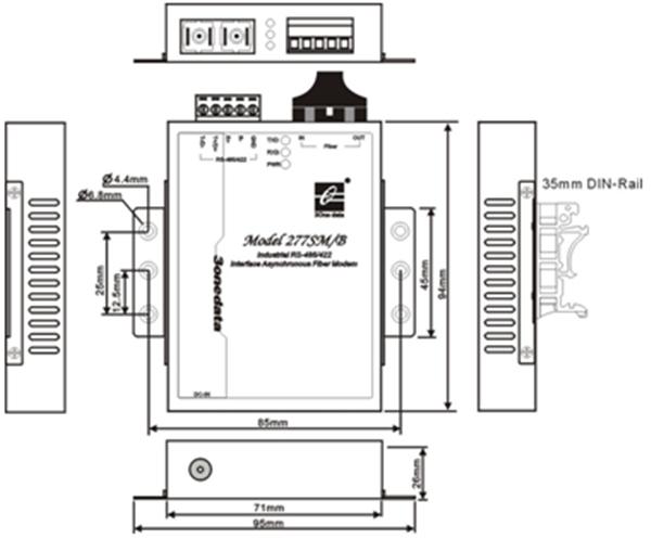 Bộ chuyển đổi quang điện 1 cổng RS-485/422 sang quang MODEL277B